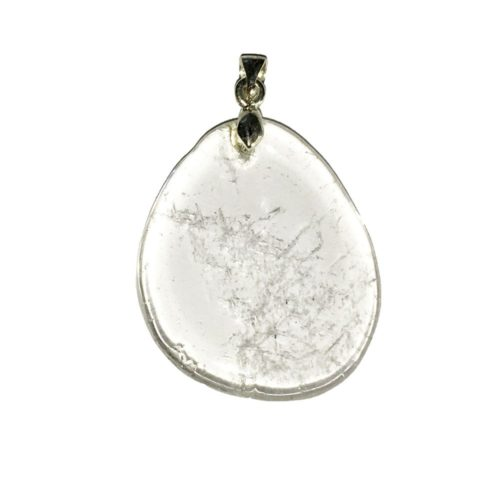 pendentif cristal de roche pierre plate