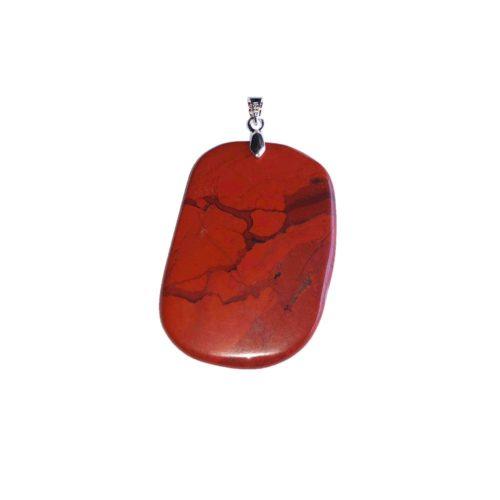 pendentif jaspe rouge pierre plate