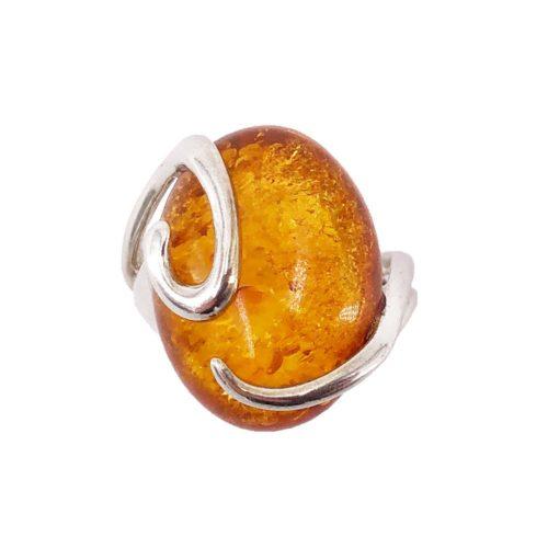 anillo ámbar plata