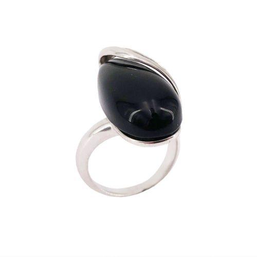 anillo ónix negro plata