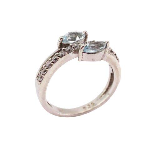 anillo topacio azul plata