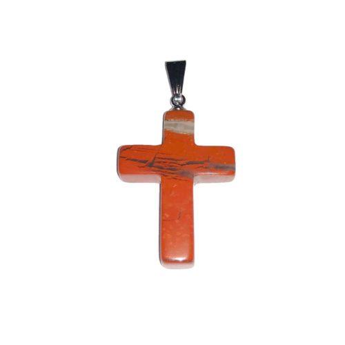 colgante jaspe rojo cruz