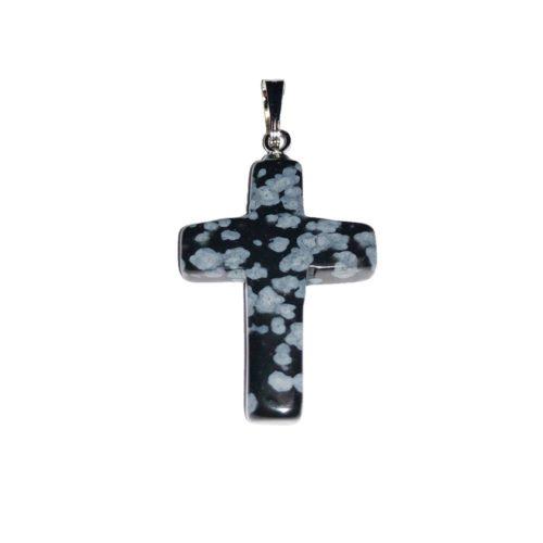 colgante obsidiana nieve cruz
