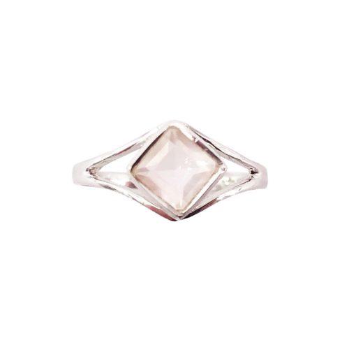 anillo cuarzo rosa plata