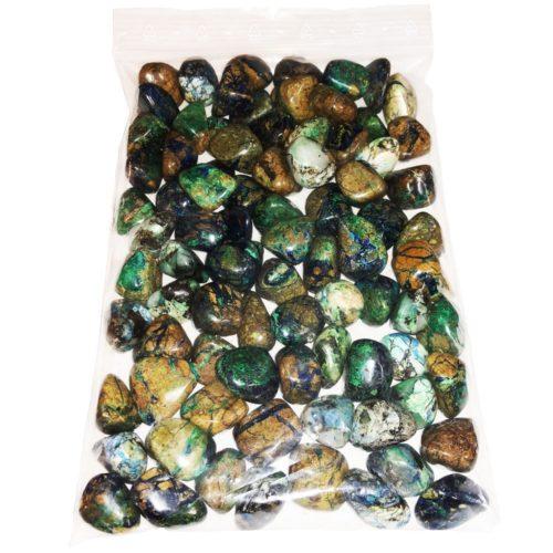 bolsa piedras rodadas azurita malaquita 1kg