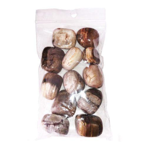 bolsa piedras rodadas madera petrificada