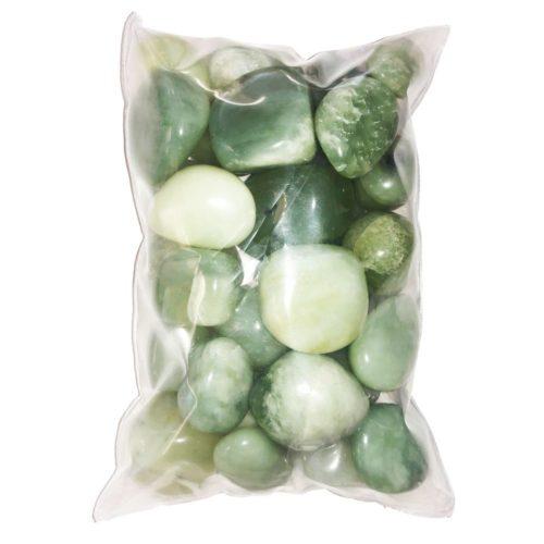 bolsa piedras jade verde