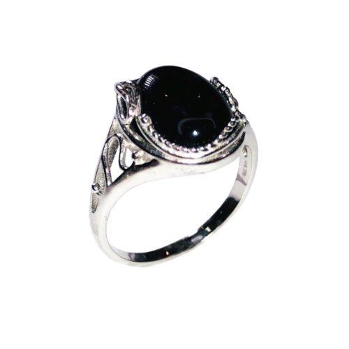 anillo ónix negro plata rodiada