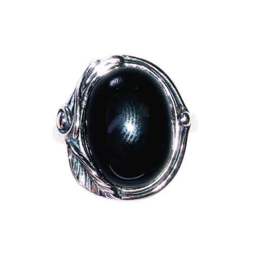 anillo ónix plata rodiada