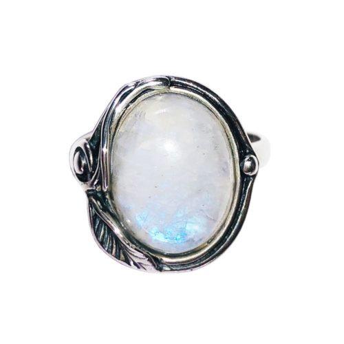 anillo piedra de luna plata rodiada