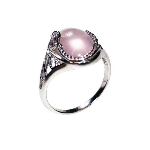 anillo cuarzo rosa plata rodiada