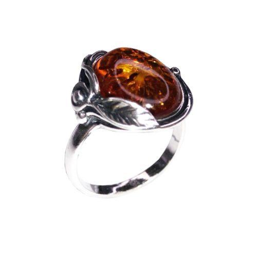 anillo ámbar plata rodiada