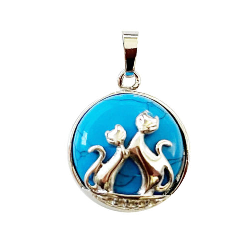 pendentif howlite bleue chat