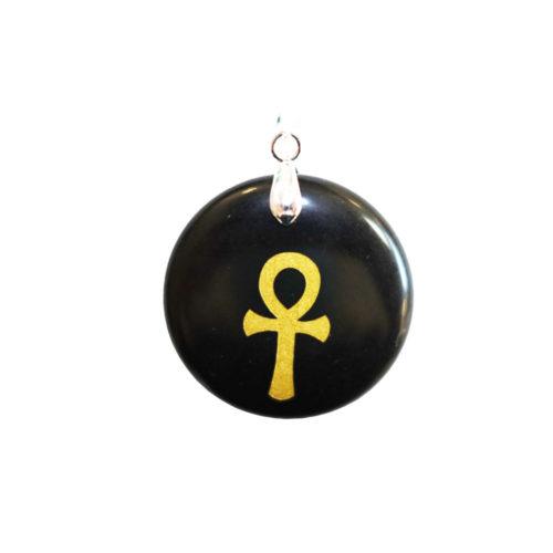 colgante obsidiana negra cruz egipcia