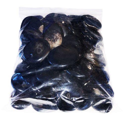 bolsa piedras planas ágata negra
