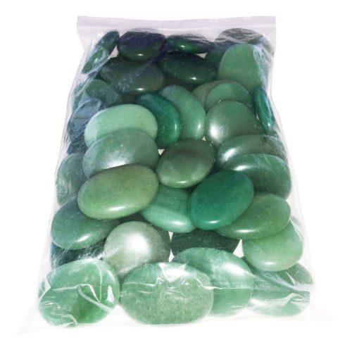 bolsa piedras planas aventurina verde