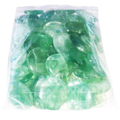 bolsa piedras planas fluorita verde