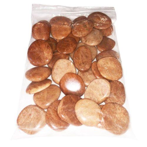 bolso piedras planas piedra de luna naranja